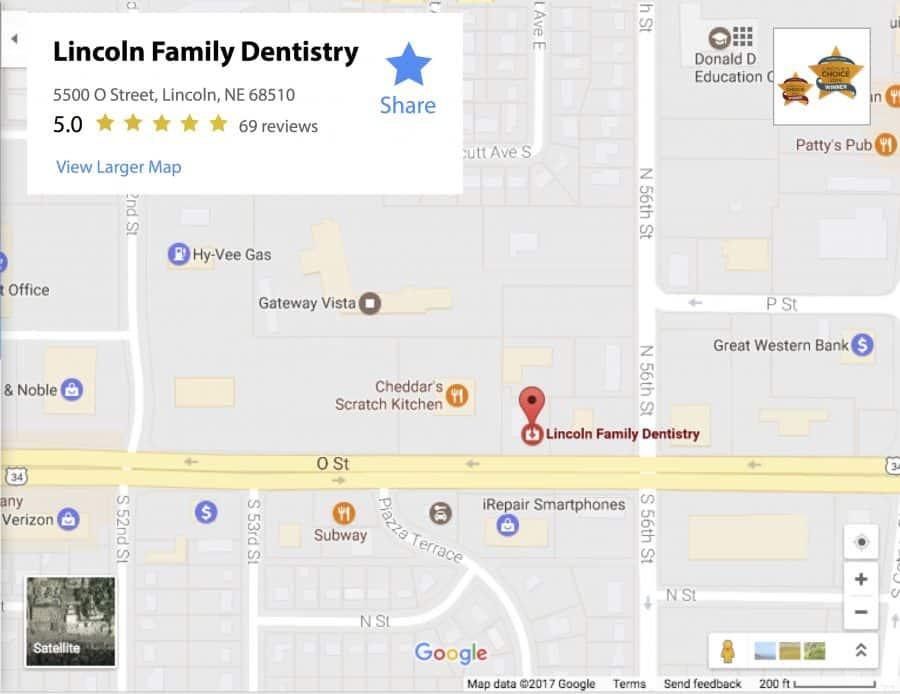 dental family dentistry lincoln ne map