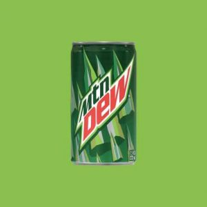 Image of a can of Mountain Dew. Any children's dentist will strongly discourage you or your child from drinking mountain dew.
