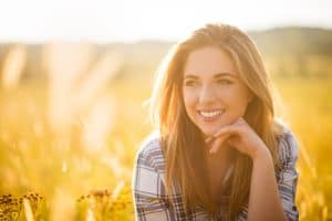 Woman smiling in nature