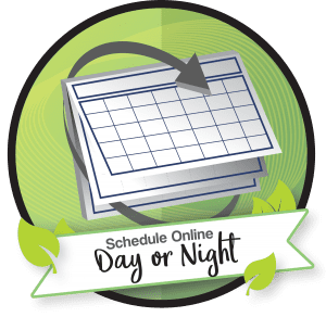 Image of the schedule online day or night logo. Schedule a consultation if you would like to learn more about the non-removable denture option, Hybrid Prosthesis.